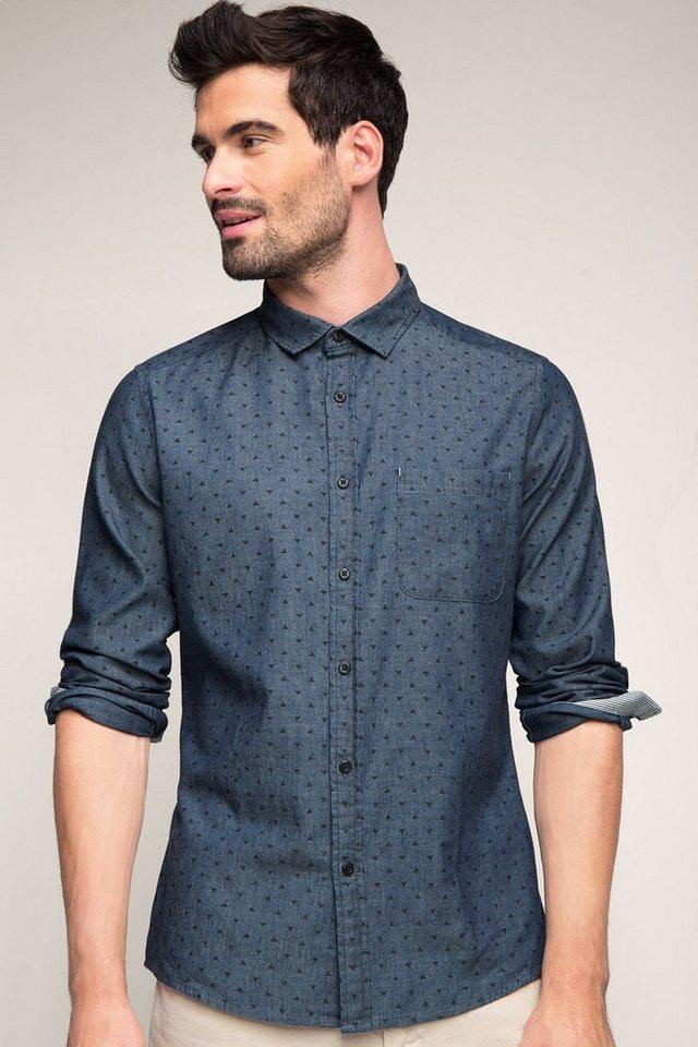 EDC Print Hemd, 100% Baumwolle in NAVY