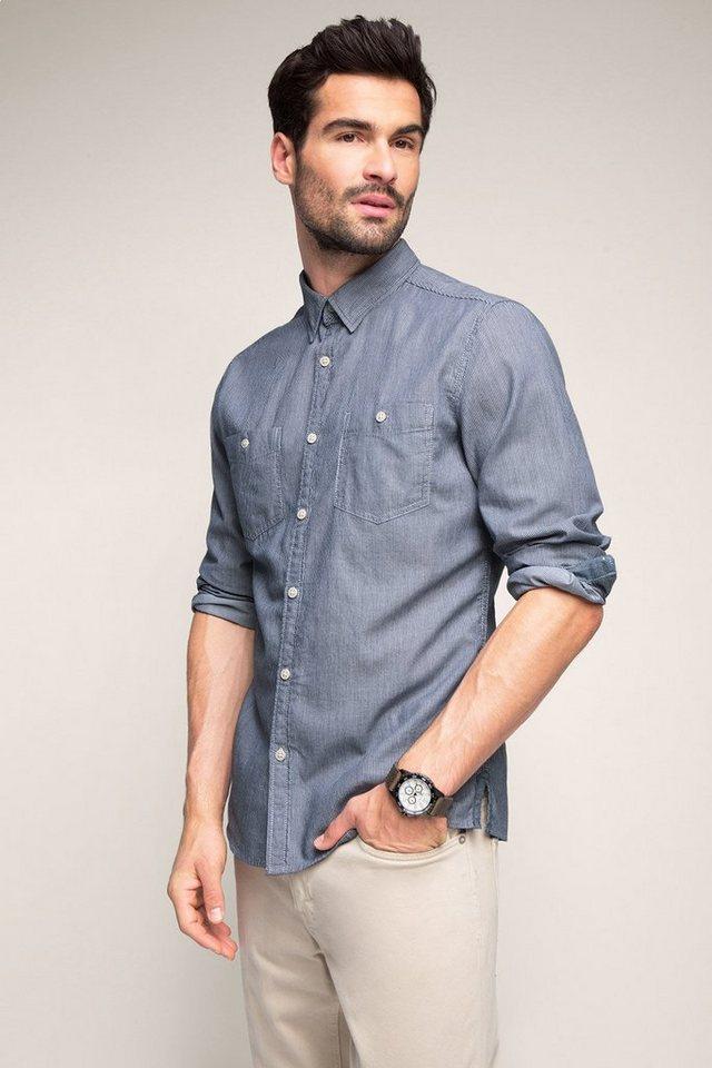 EDC Streifen Hemd, 100% Baumwolle in NAVY