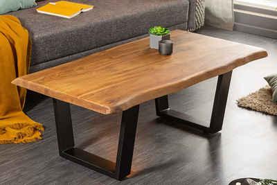 riess-ambiente Couchtisch »MAMMUT 110cm honigfarben / schwarz«, Wohnzimmertisch · Massivholz · Baumkante · Metall-Kufen · 3,5cm Tischplatte · Industrial