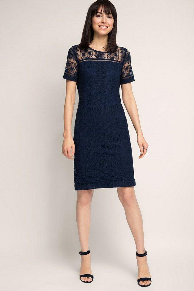 ESPRIT COLLECTION Kleid aus weicher Spitze mit Streifenmuster in NAVY