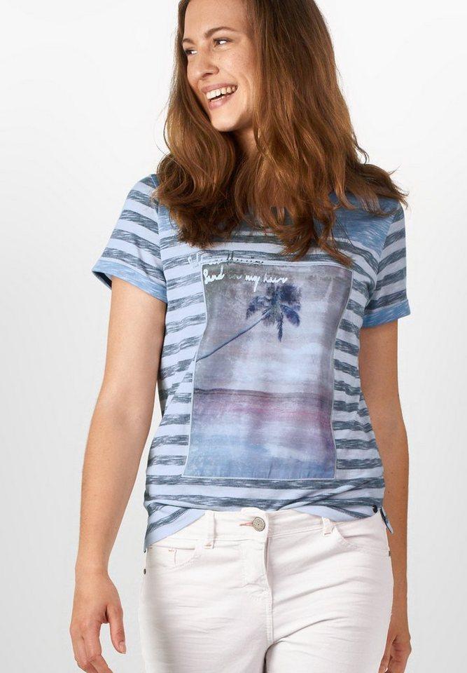 CECIL Gestreiftes Frontprintshirt in deep blue