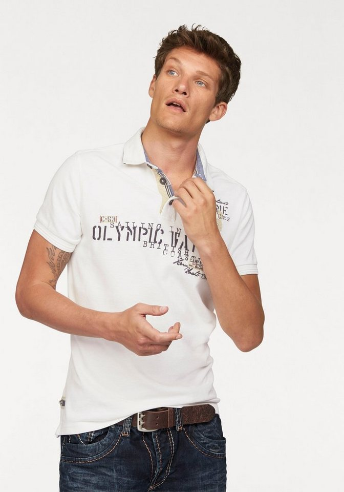 CAMP DAVID Poloshirt in Piqué Qualität in offwhite