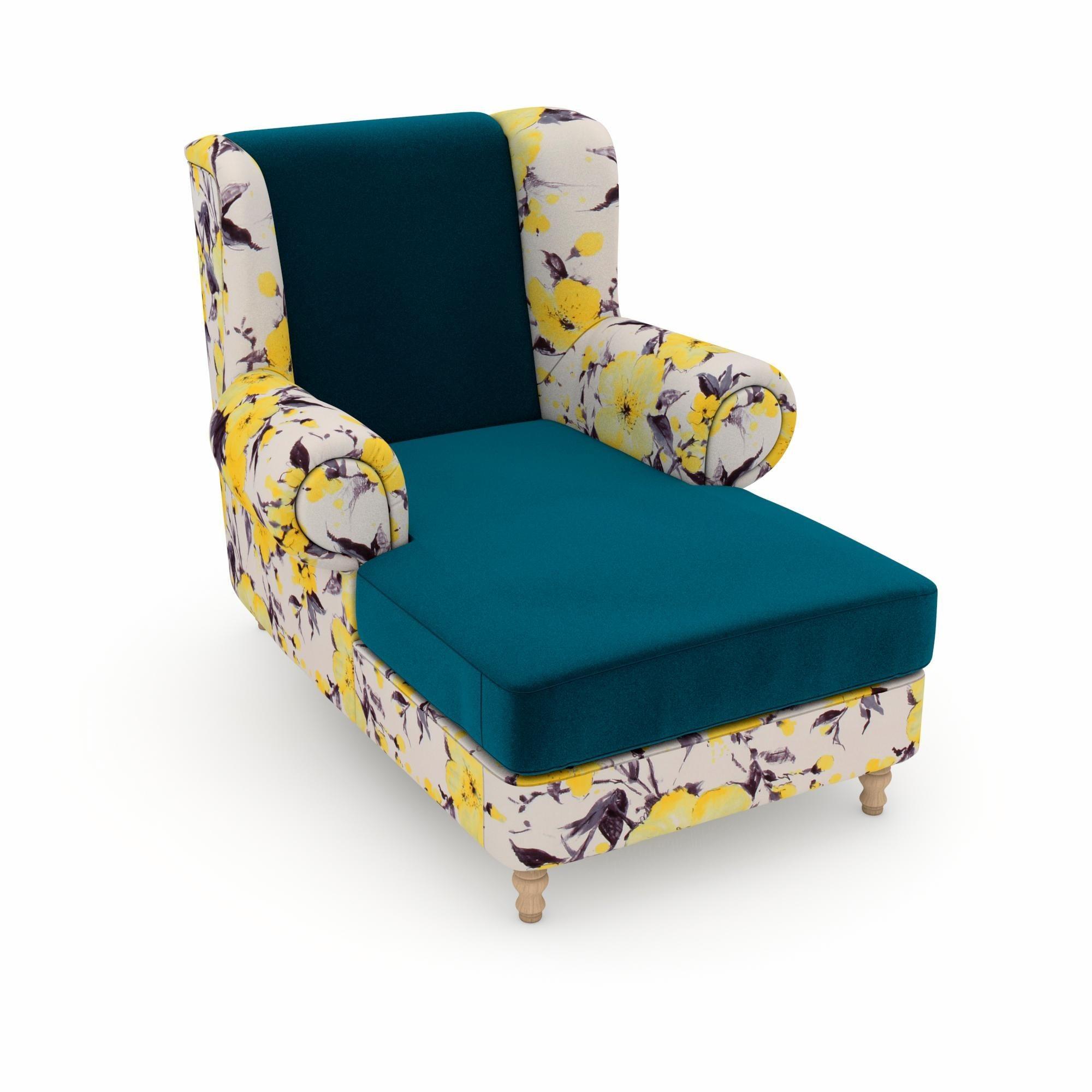 Max Winzer® build-a-chair XXL Ohrensessel »Madeleine«, zum Selbstgestalten | Wohnzimmer > Sessel > Ohrensessel | Geblümt | Holz - Samtvelours - Nussbaum - Buche - Polyester | Max Winzer®