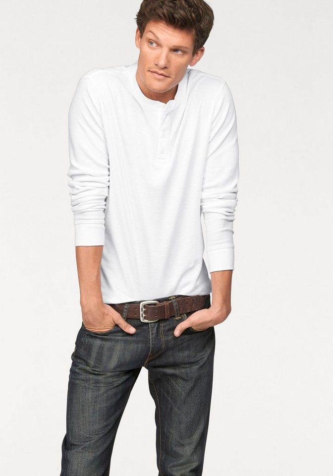 Levi's® Langarmshirt hochwertige Waffelpikee-Qualität in weiß