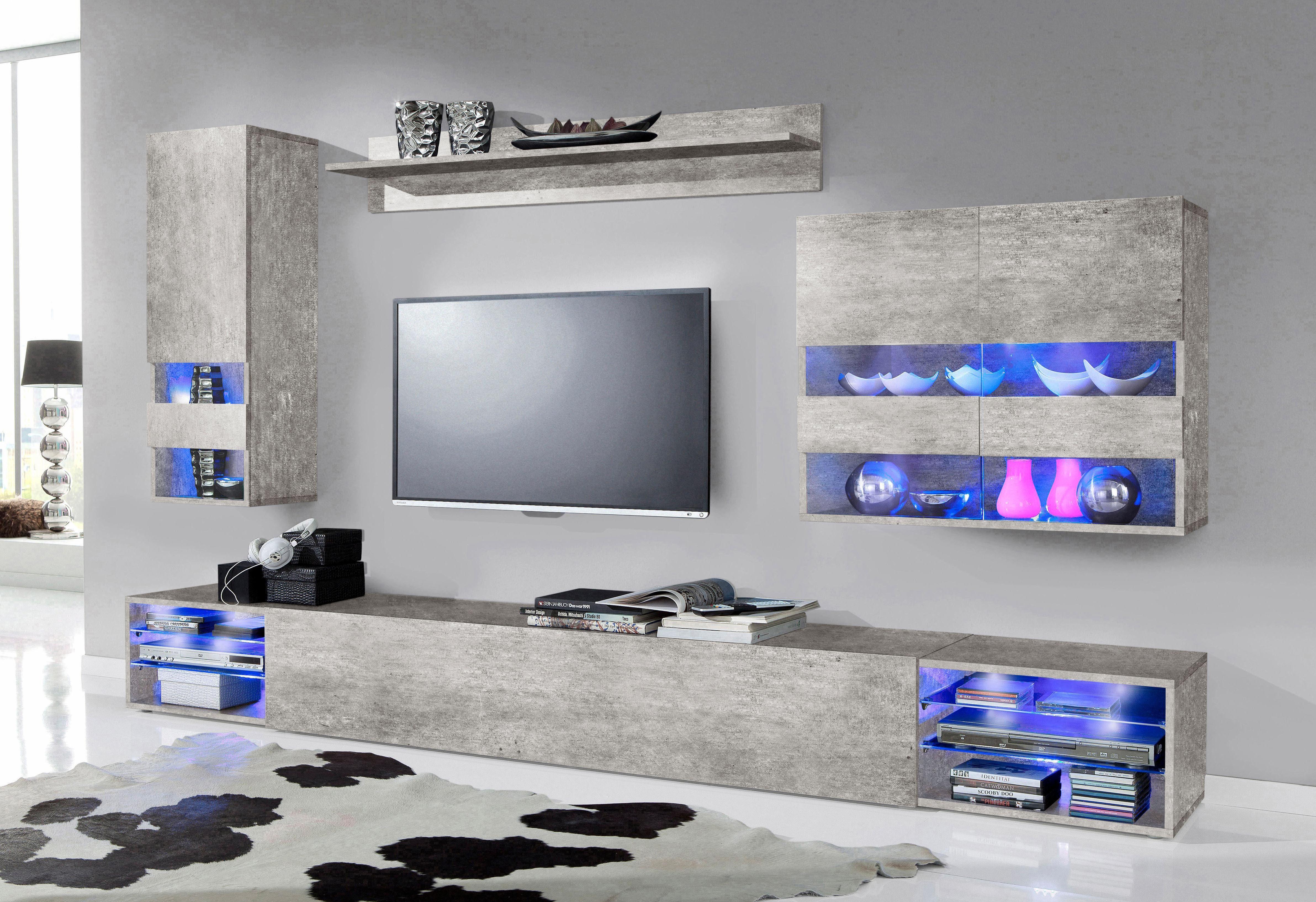 Wohnwand Schwarz Grau ~ Wohnwand in grau online kaufen otto