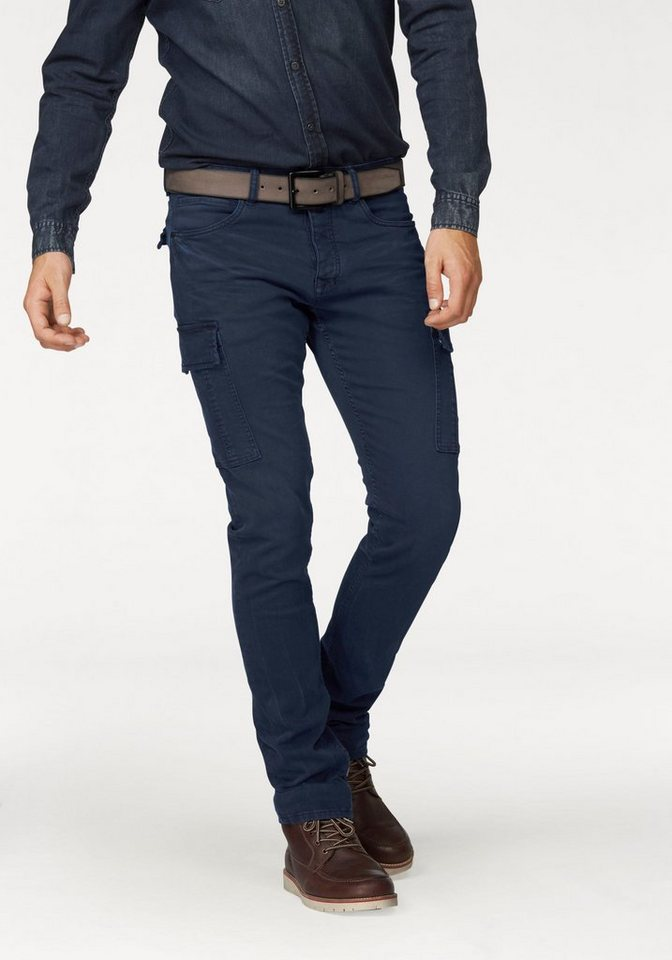 Colorado Denim Cargojeans mit Crinkle-Effekten in navy
