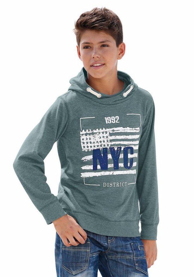 """Arizona Kapuzensweatshirt """"NYC"""" in petrol-meliert"""