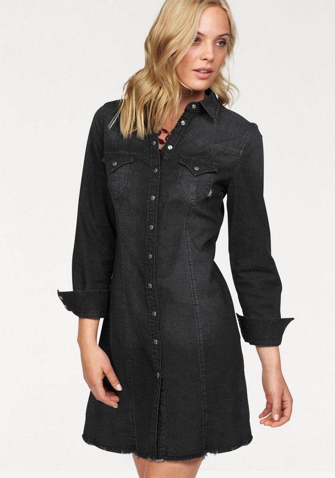 Arizona Jeanskleid mit Fransensaum in black-used