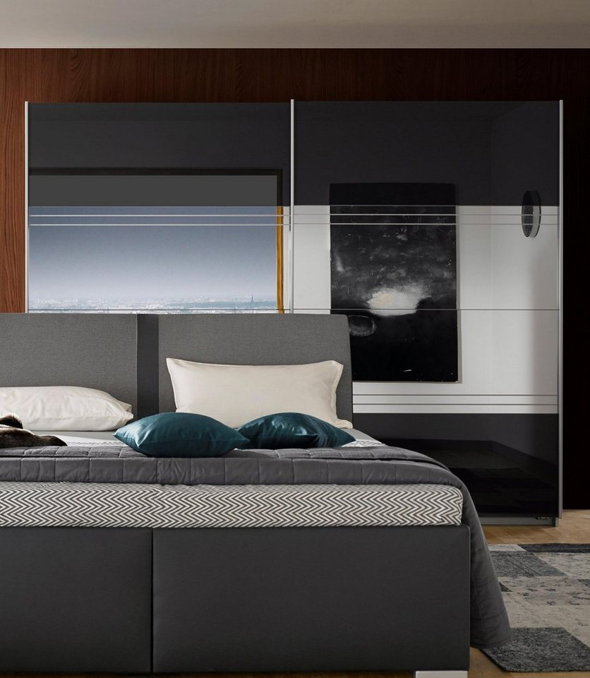roomed Schwebetürenschrank mit Spiegel in alufarben/Basaltglas mit Grauspiegel