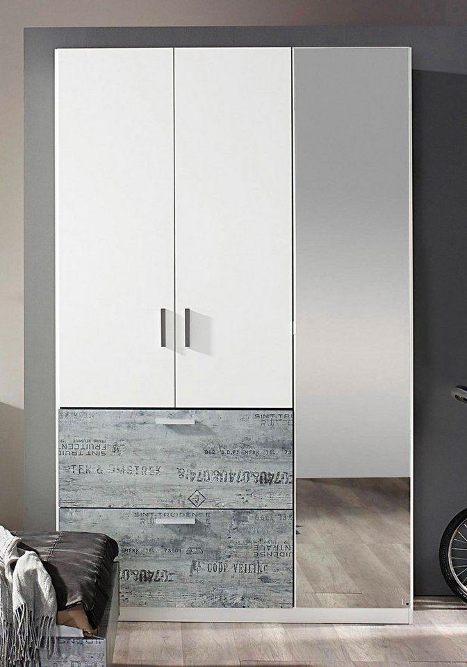 rauch Kleiderschrank mit Spiegel in weiß mit grauem Vintage-Dekor