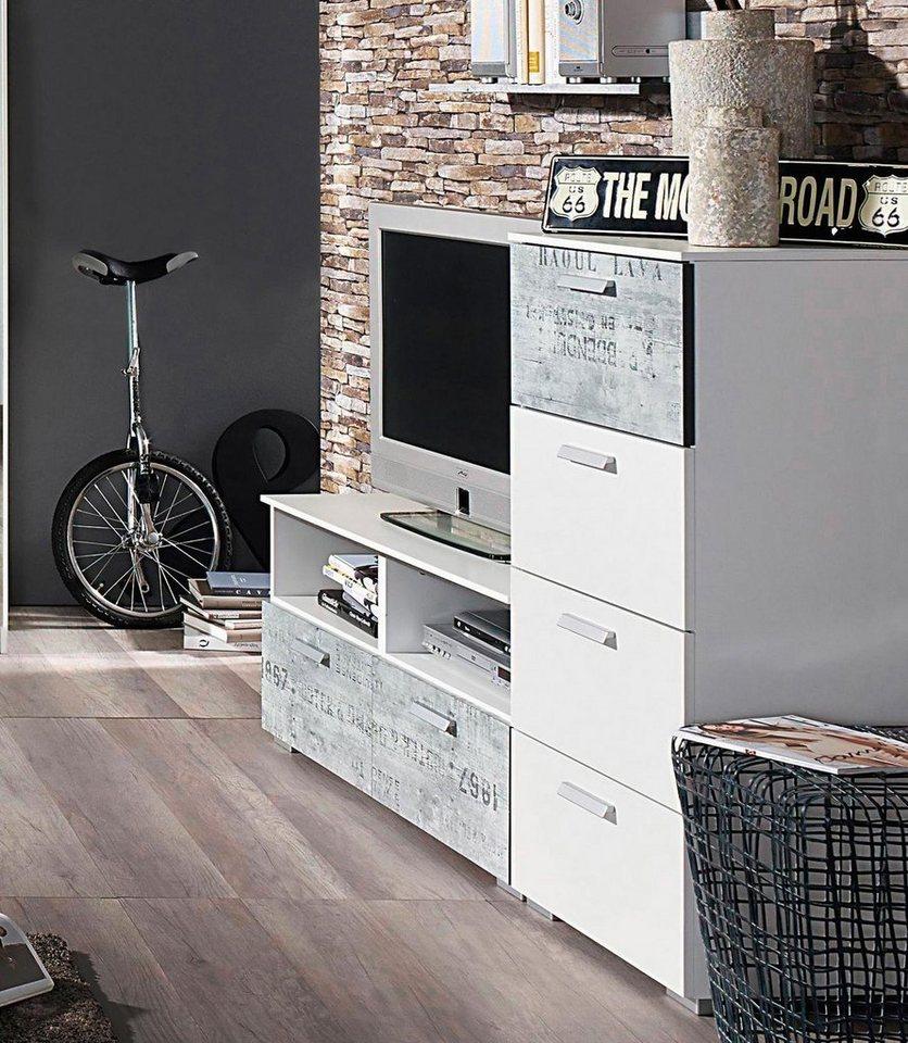 rauch TV-Kommode in weiß mit grauem Vintage-Dekor