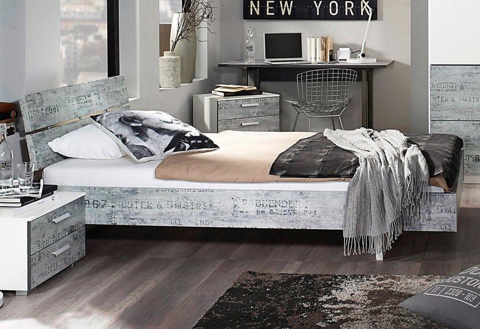rauch Bett in weiß mit grauem Vintage-Dekor