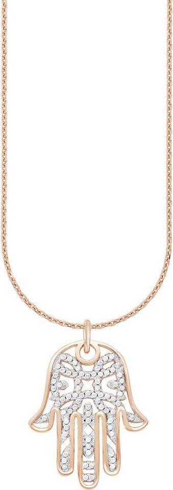 Amor Kette mit Anhänger mit Zirkonia, »Fatima´s Hand, E92/11 527637« in Silber 925-roségoldfarben vergoldet