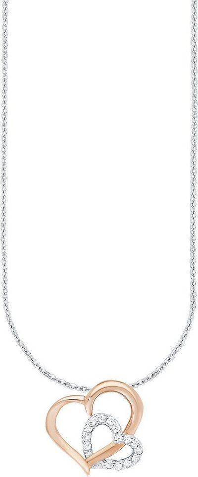 Amor Kette mit Anhänger mit Zirkonia, »Herz, E43/5 525473« in Silber 925-teilw. roségoldfarben vergoldet