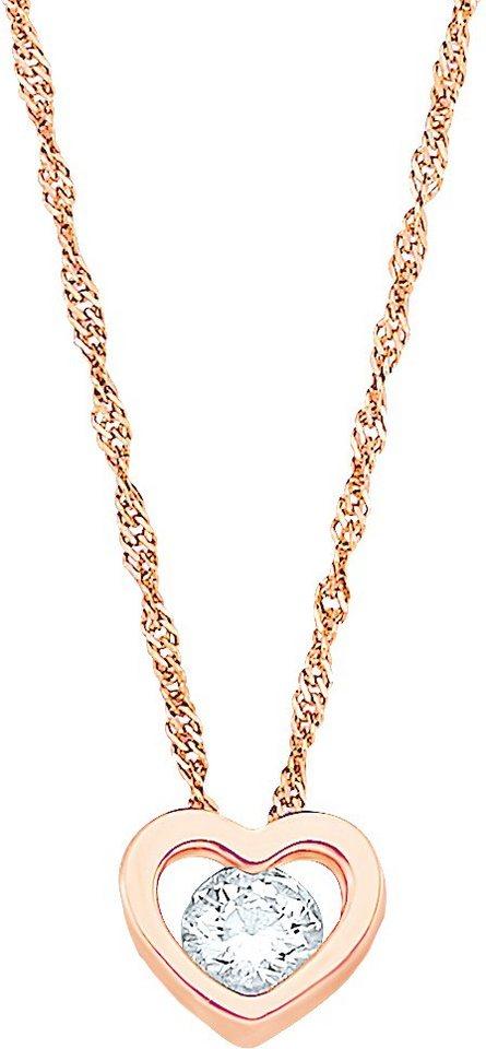 Amor Kette mit Anhänger mit Zirkonia, »Herz, E51/7 533874« in Silber 925-18 Karat roségoldfarben vergoldet