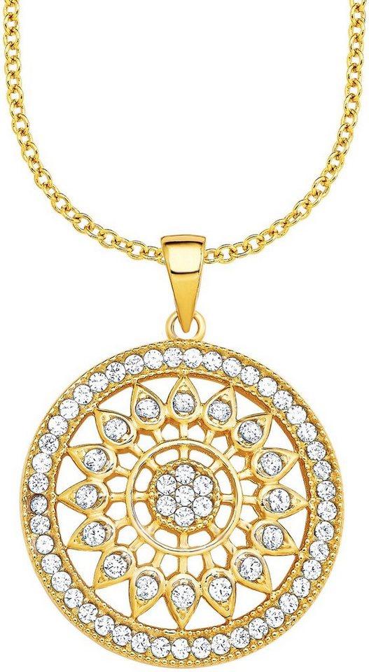 Amor Kette mit Anhänger mit Zirkonia, »E105/10 539067« in Silber 925-goldfarben vergoldet