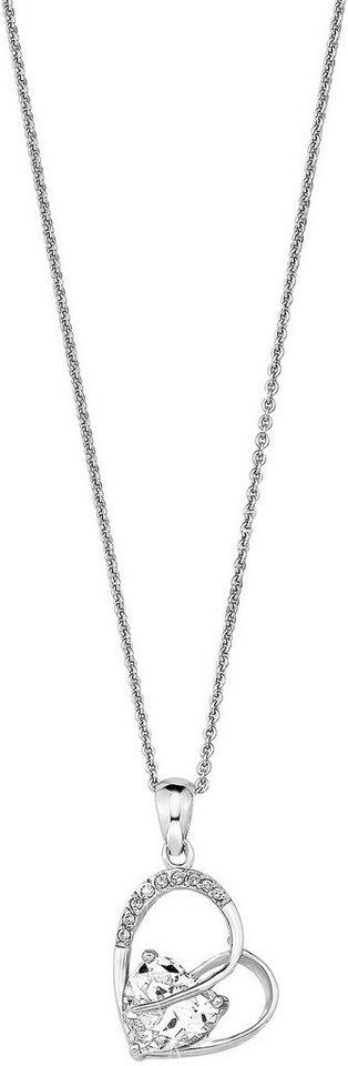 Amor Kette mit Anhänger mit Zirkonia, »Herz, E42/2 331074« in Silber 925