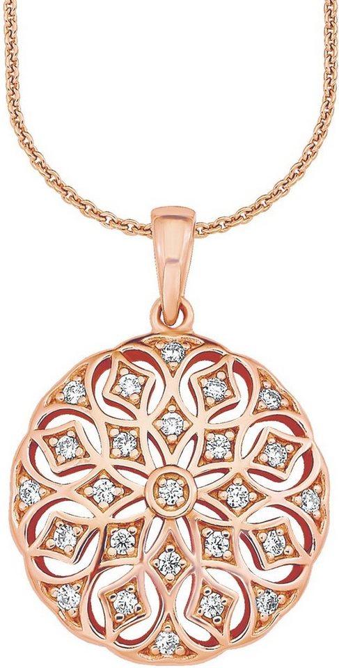 Amor Kette mit Anhänger mit Kristallsteinen, »E108/1 541916« in Silber 925-roségoldfarben vergoldet