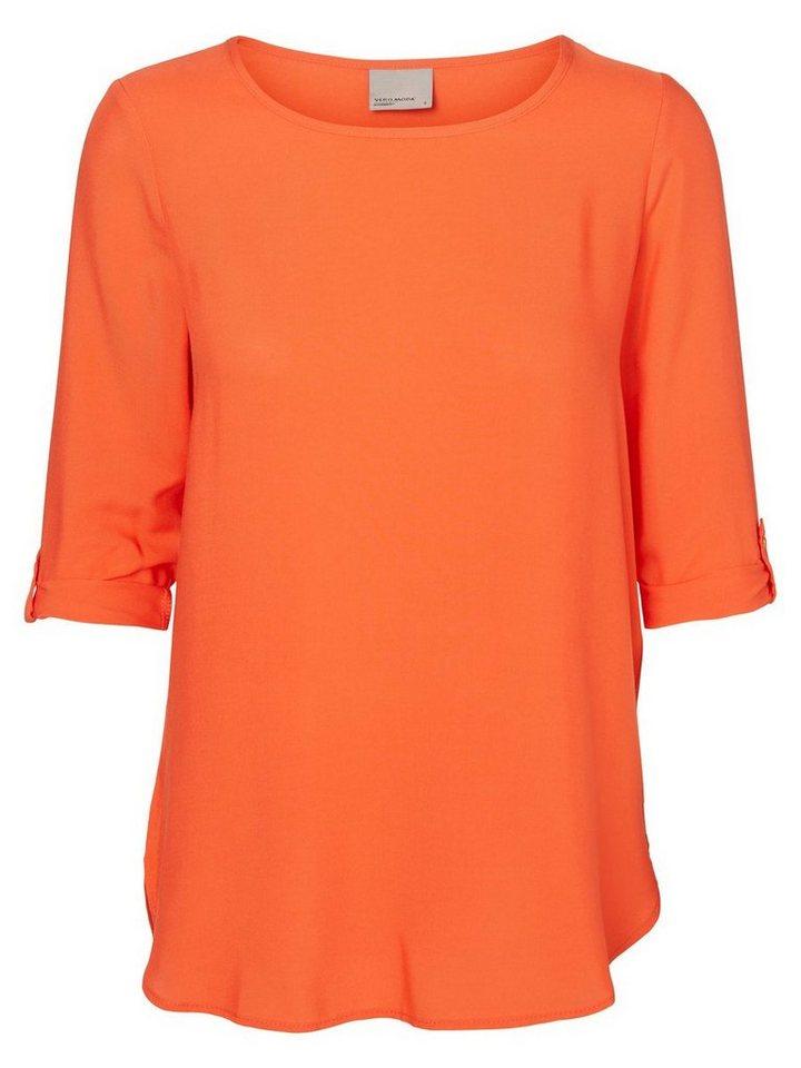 Vero Moda High-low- Bluse mit 3/4 Ärmeln in Mandarin Red