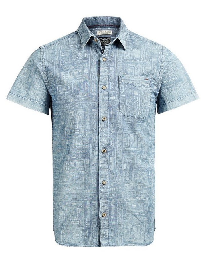 Jack & Jones Gemustertes Button-down- Kurzarmhemd in Total Eclipse
