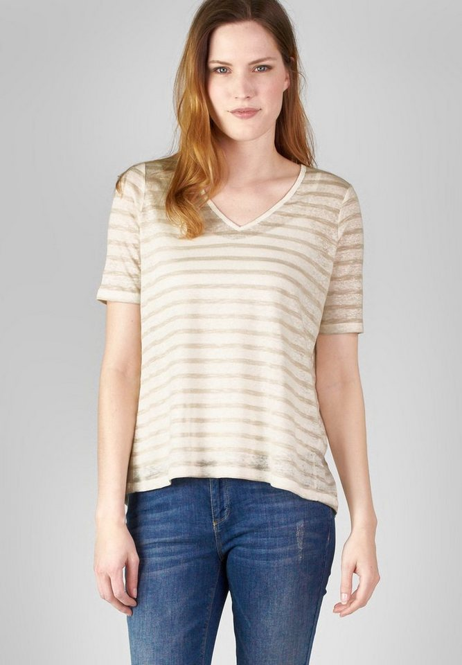 Street One Leinen-Streifenshirt Sarina in natural cream