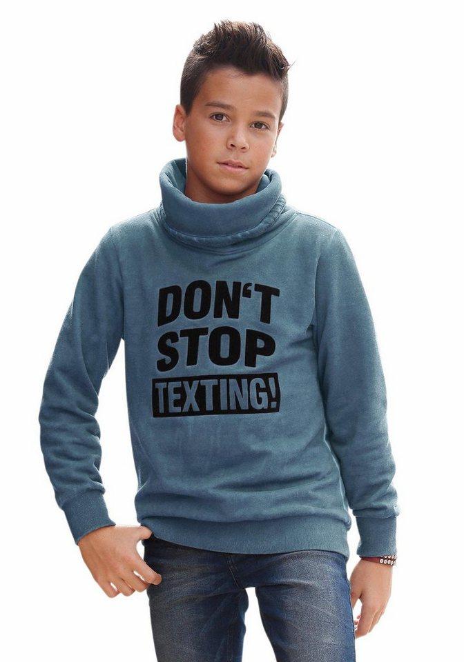 Arizona Sweatshirt mit samtigem Druck in blau