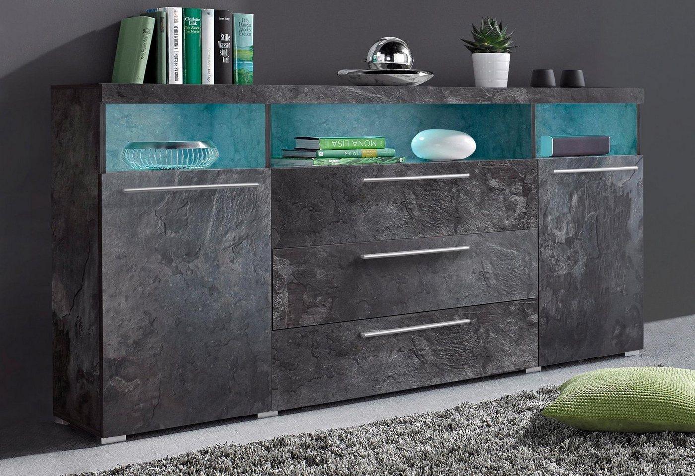 Sideboard Breite 182 cm schwarz | 05900488551498