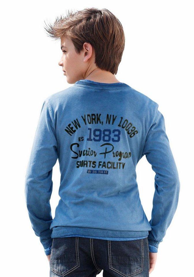 Bench Langarmshirt In modisch gewaschener Qualität in blau