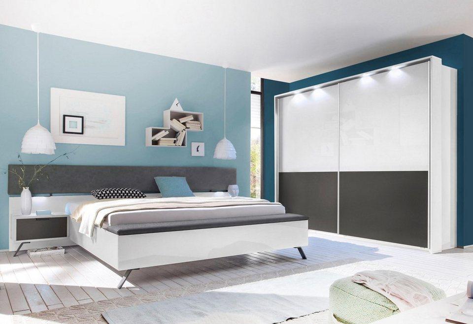 LC Schlafzimmer-Set (4-tlg.) in weiß Hochglanz, matt anthrazit