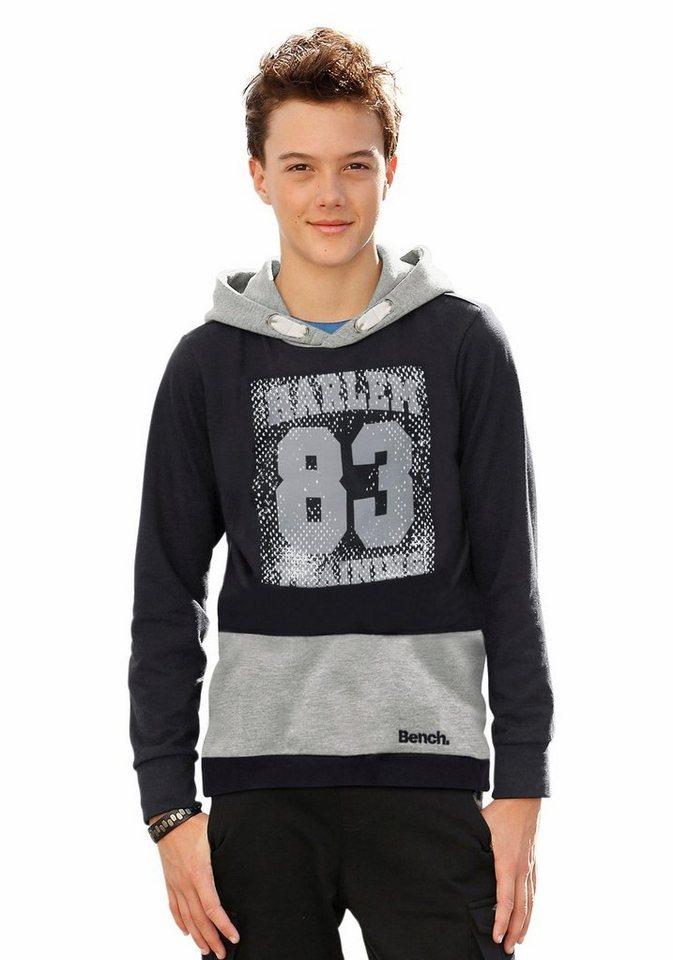 Bench Kapuzensweatshirt Kontrastfarbene Kapuze in schwarz