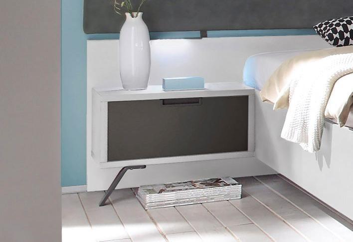 LC Nachttisch-Set (2-tlg.) in weiß Hochglanz, matt anthrazit