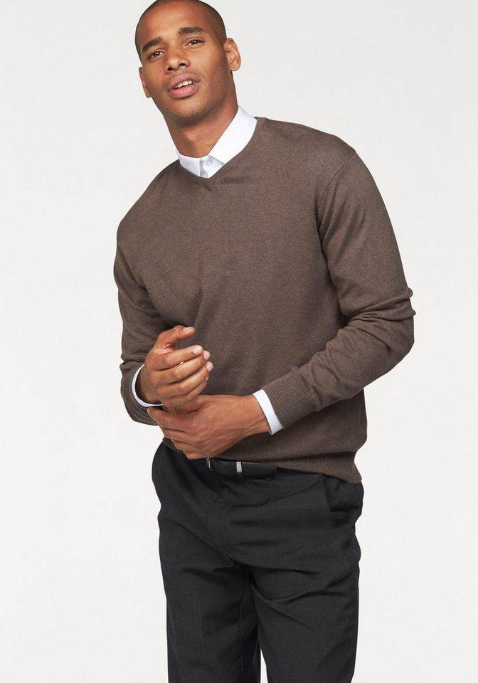Class International V-Ausschnitt-Pullover in beige