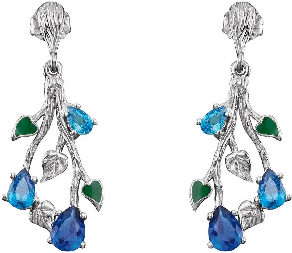 Julie Julsen Paar Ohrstecker mit Zirkonia, »4Elements-Wasser, JJER9404.1« in Silber 925-blau