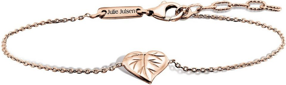 Julie Julsen Armkette, »Petite COLLECTION, Blatt, JJBR9824.2« in Silber 925-roségoldfarben vergoldet