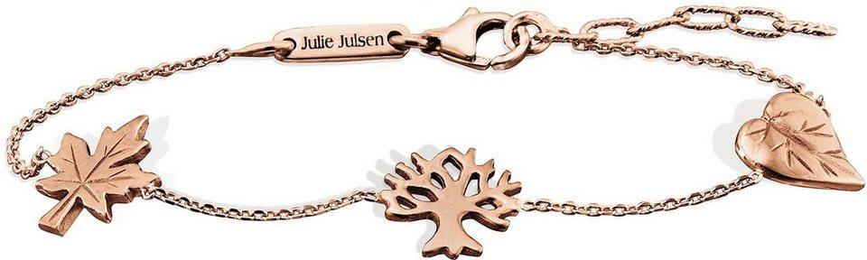 Julie Julsen Armkette, »Petite COLLECTION, Ahornblatt, Baum und Blatt, JJBR9825.2« in Silber 925-roségoldfarben vergoldet
