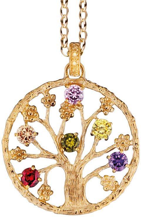 Julie Julsen Anhänger ohne Kette mit Zirkonia, »Lebensbaum, JJ8717.10« in Silber 925-goldfarben vergoldet-bunt