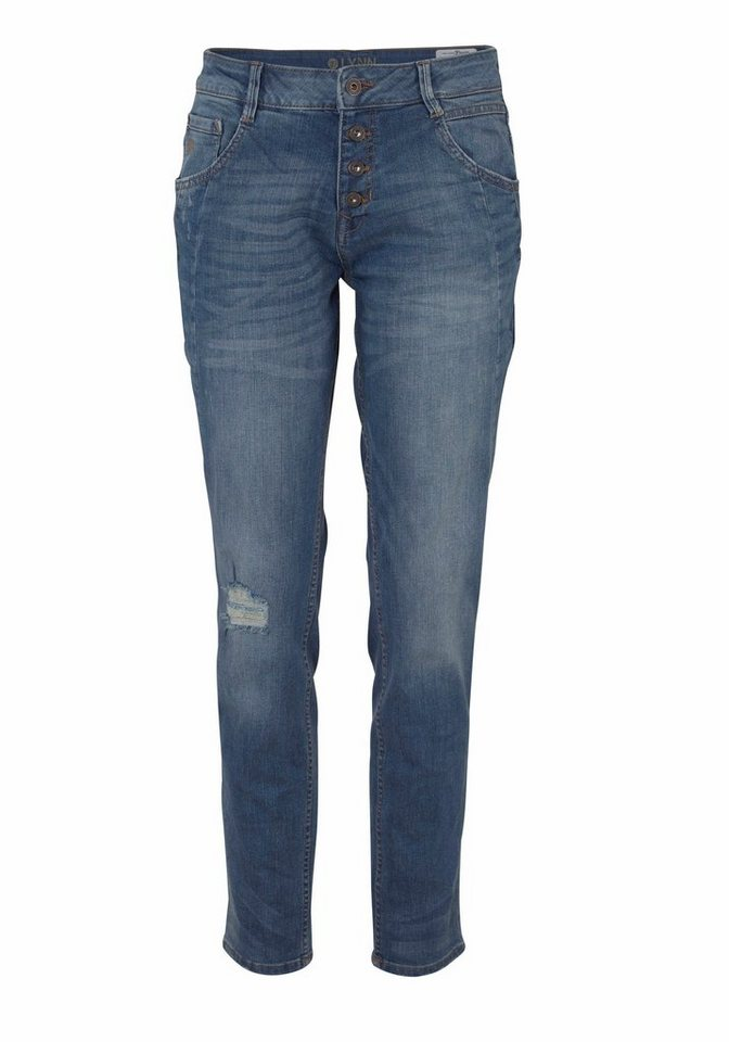 Tom Tailor Denim Tapered-fit-Jeans »Lynn« mit Knopfverschluss in blue-vintage