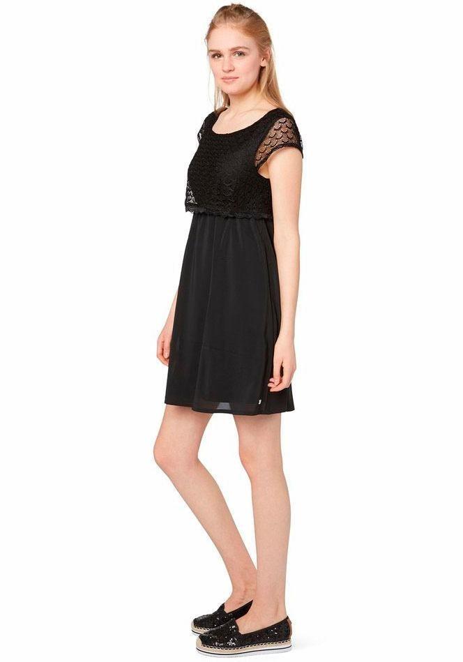 Tom Tailor Denim Spitzenkleid modisches Kleid mit Spitzenlayer in schwarz