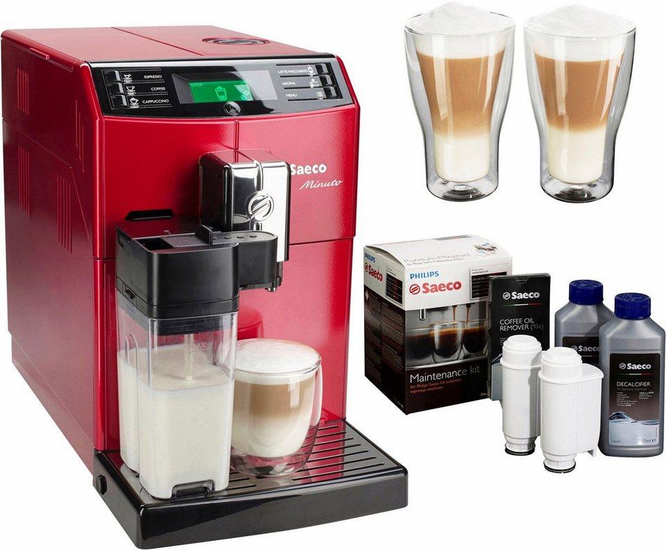 Saeco Kaffeevollautomat HD8867/12 Minuto mit Milchkaraffe, rot in rot