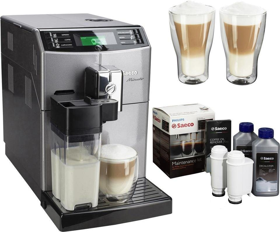 Saeco Kaffeevollautomat »HD8867/11 Minuto«, mit Milchkaraffe, inkl. Zubehör für UVP € 61,98 in perlmuttsilber