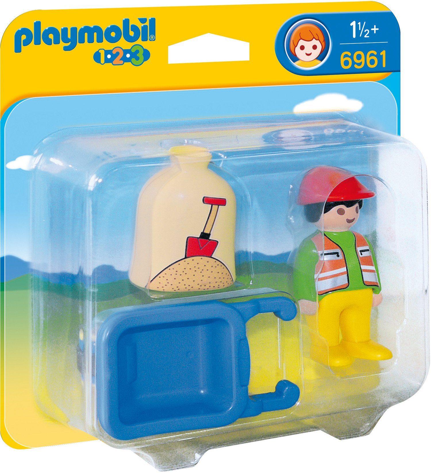Playmobil® Bauarbeiter mit Schubkarre (6961), »Playmobil 1-2-3«