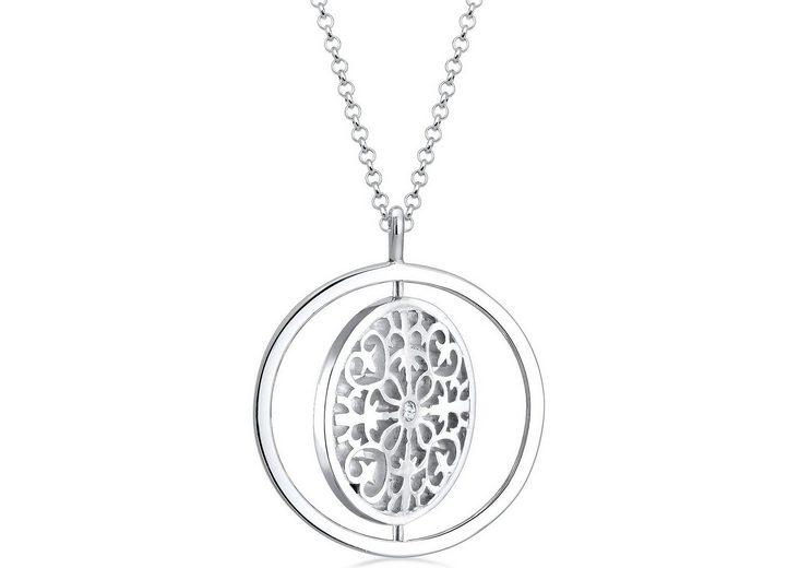 Elli Premium Kette mit Anhänger mit Swarovski® Kristall, »Ornament Drehscheibe, 0103591816«