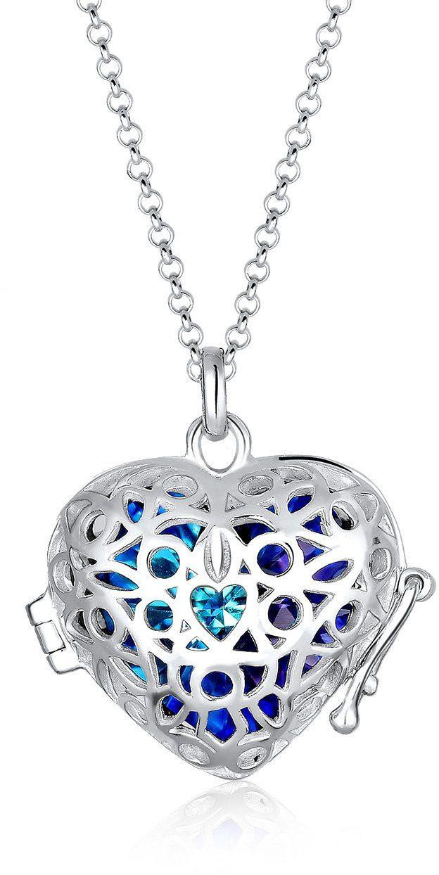 Elli Kette mit Anhänger mit Swarovski® Kristall, »Medaillon Herz, 0103291816«