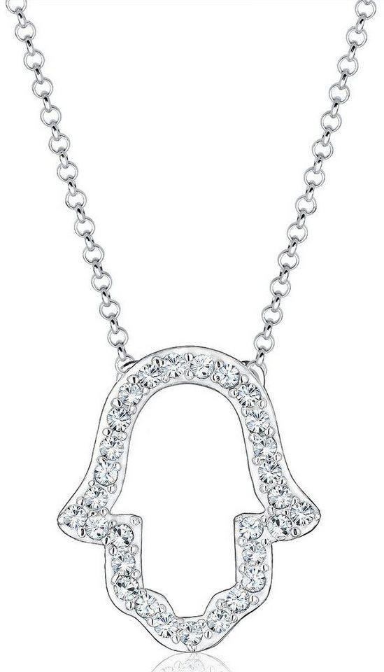 Elli Kette mit Anhänger mit Swarovski® Kristallen, »Fatima's Hand, Hamsa Hand, 0102342316« in Silber 925