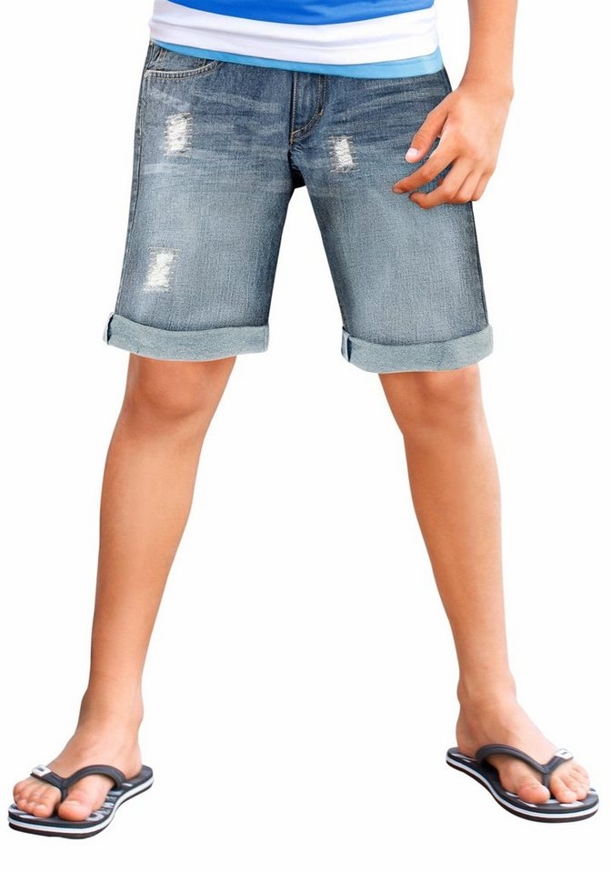 Arizona Jeansbermudas mit Destroyed-Effekten in light-blue-used