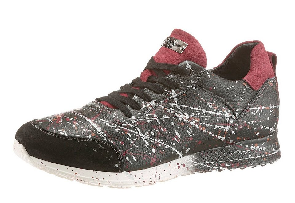 NOCLAIM »Racy 2« Sneaker handbemalt in schwarz-weiß-rot
