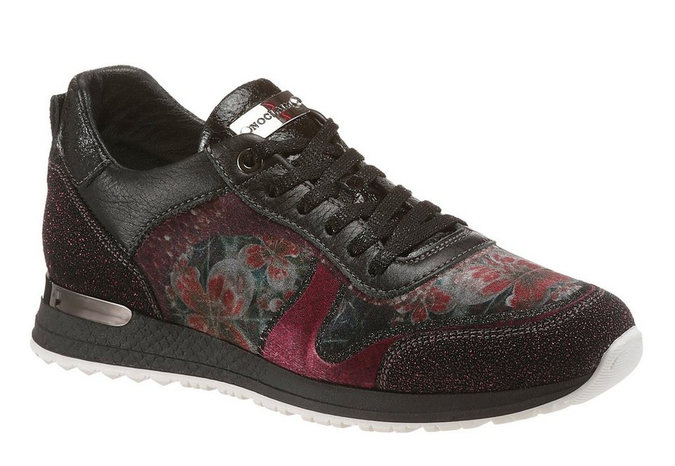 NOCLAIM Sneaker mit floralem Print in schwarz-bordeaux