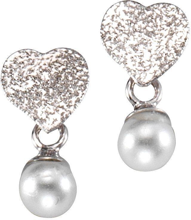 firetti Paar Ohrstecker, mit Perlen, »Herz« in silber 925 - weiß