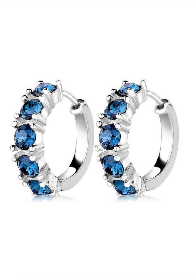Elli Ohrringe »Creolen Swarovski® Kristalle Elegant 925 Silber« in Blau