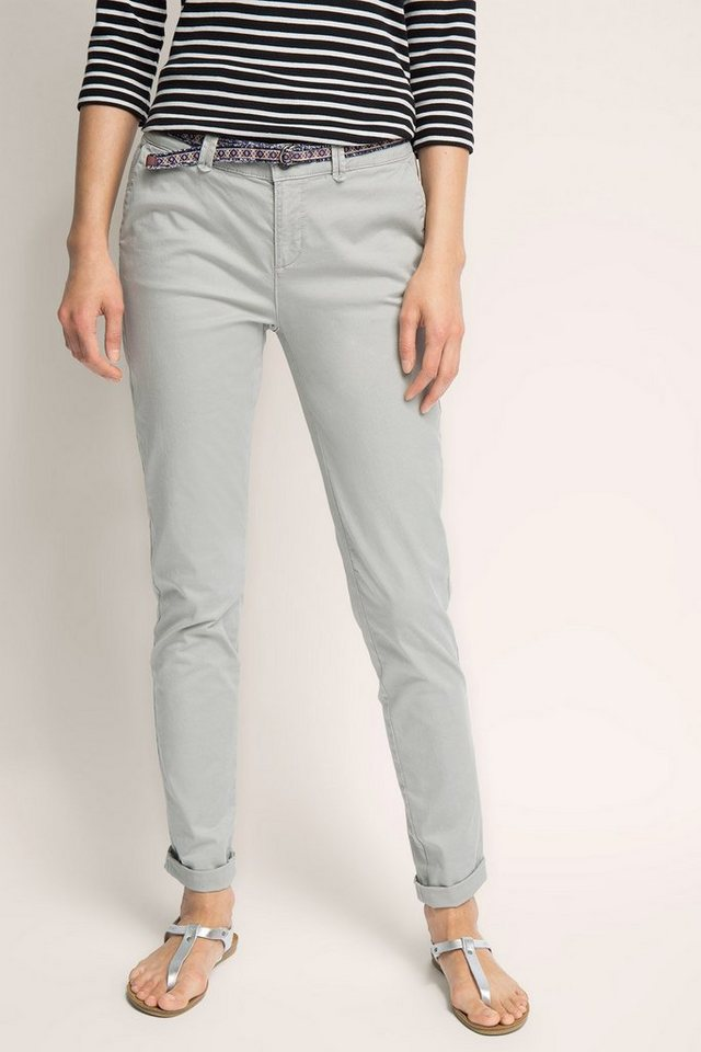 ESPRIT CASUAL Leichte Twill-Chino aus Baumwolle/Stretch in LIGHT GREY